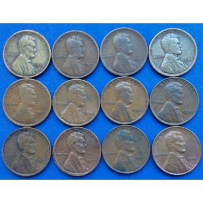 1911-1951 Lincoln Wheat cent, amerikai 1 centes érme lot 12 db egyben