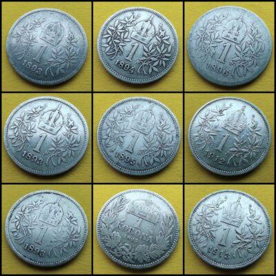 1893 -1915 1 korona 9 db-os ezüst érme sor