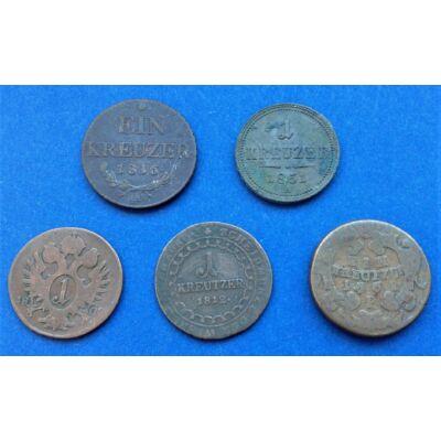 5 darabos Krajcár érme sor kezdő gyűjtőknek 1761-1851