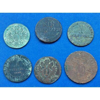 6 darabos Krajcár érme sor kezdő gyűjtőknek 1800-1816