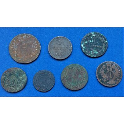 7 darabos Krajcár érme sor kezdő gyűjtőknek 1800-1851