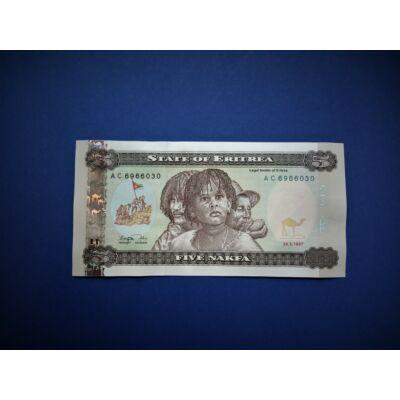1997 Eritrea 5 Nakfa UNC bankjegy. Sorszámkövető is lehet! Numizmatika - bankjegyek