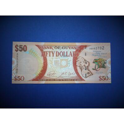 2016 Guyana 50 dollar UNC bankjegy. Sorszámkövető is lehet!
