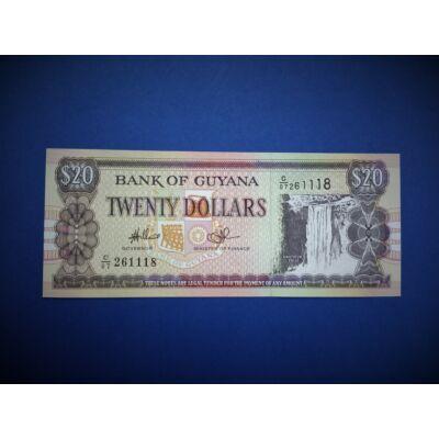 1996 Guyana 20 Dollár UNC bankjegy. Sorszámkövető is lehet!
