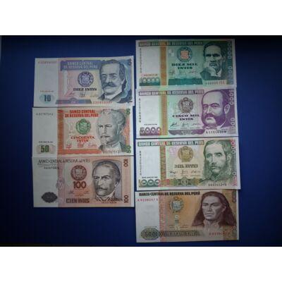 1987-1988 Peru 10-50-100-500-1000-5000-10000 Intis 7 db-os UNC bankjegy sor!