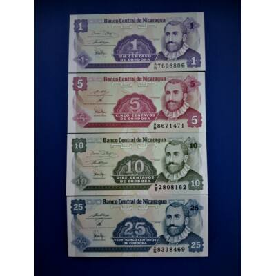 1991 NIcaragua 1-5-10-25 centavos UNC bankjegy sor Numizmatika - bankjegyek