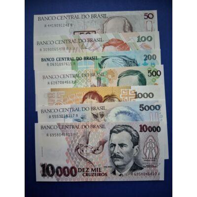 Brazília 50-100-200-500-1000-5000-10000 Cruzeiros UNC bankjegy sor. 7 db egyben! Numizmatika - bankjegyek