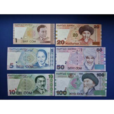 1997 Kírgizisztán 1-5-10-20-50-100 Szom UNC bankjegy sor.