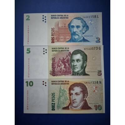 2012 Argentina 2-5-10 Peso UNC bankjegy sor. Numizmatika - bankjegyek