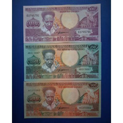 1988 Suriname 100-250-500 Gulden UNC bankjegy sor. 3 db egyben Numizmatika - bankjegyek