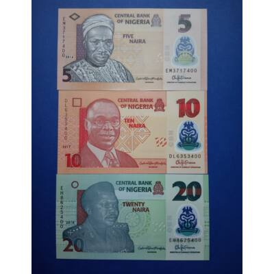 2018 Nigéria 5-10-20 Naira UNC bankjegy sor. 3 db egyben Numizmatika - bankjegyek