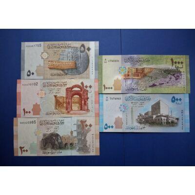 2009-2013 Szíria 50-100-200-500-1000 Pounds 5 db-os UNC bankjegy sor