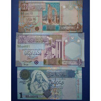 2002-2004 Líbia 1/4-1/2-1 Dinar UNC bankjegy sor. 3 db egyben