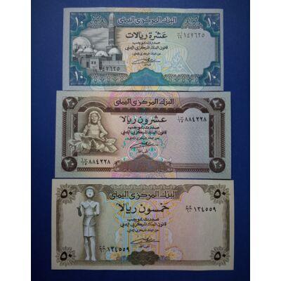 1990-1993 Jemen 10-20-50 Rial UNC bankjegy sor. 3 db egyben Numizmatika - bankjegyek