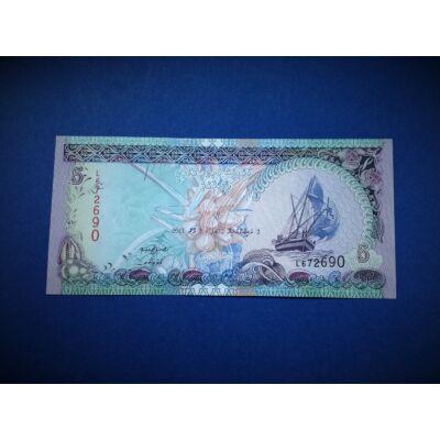 2011 Maldív szigetek 5 Rufiyaa UNC bankjegy. Sorszámkövető is lehet!