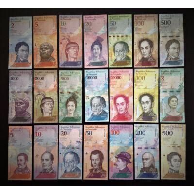 Venezuela Bolivár 21 db-os UNC bankjegy sor. Teljes szett!
